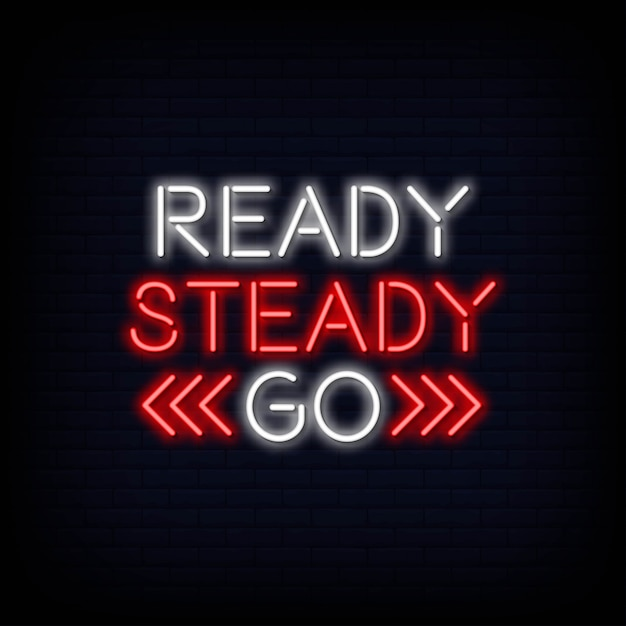 Ready steady go neontext Premium Vector