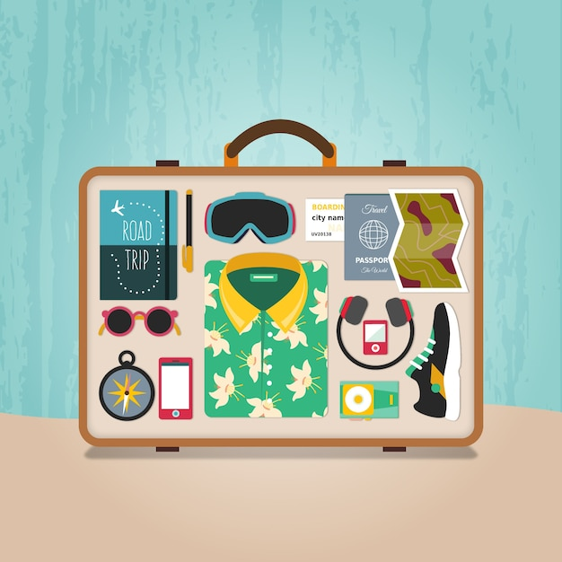 Ready suitcase Free Vector