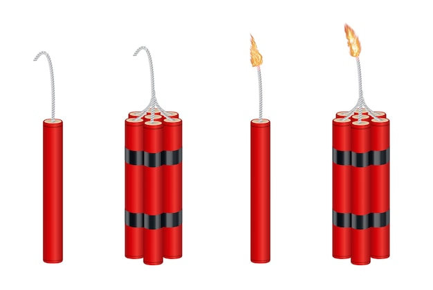Real 3d dynamite  and dynamite  pack with burning fire Premium Vector