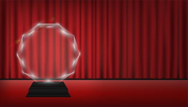 Real 3d transparent acrylic trophy Premium Vector