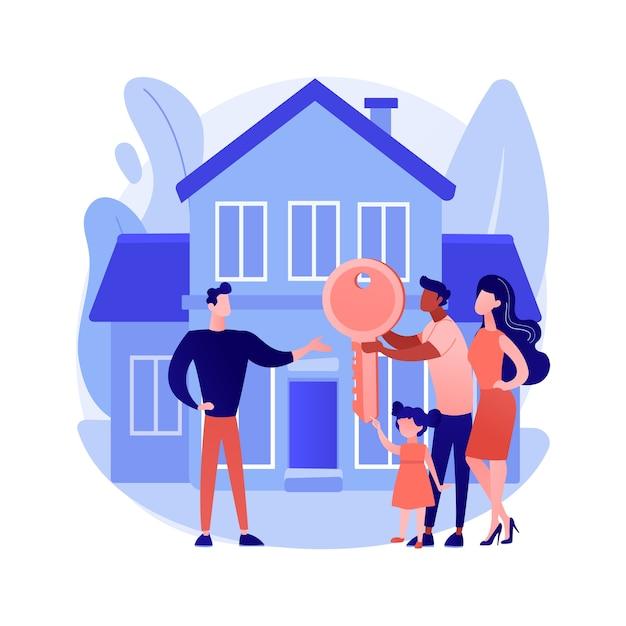 不動産の抽象的な概念のベクトル図です。不動産業者、住宅、工業、商業用不動産市場、投資ポートフォリオ、持ち家、不動産価値の抽象的な比喩。 無料ベクター