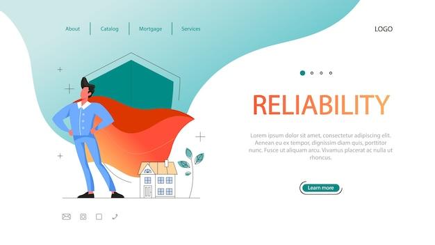 Веб-баннер преимущества недвижимости. квалифицированный и надежный агент по недвижимости или брокер. риэлторская помощь и помощь в оформлении ипотечного договора. Premium векторы