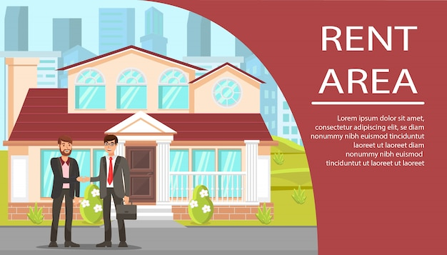 Real estate agency flat banner Premium Vector