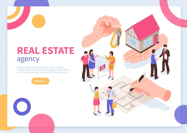 Real estate agency isometric concept of web banner template with colorful geometric elements  vector illustration Free Vector