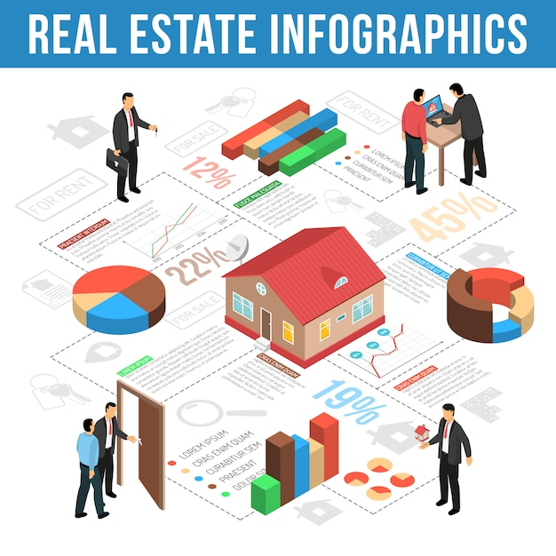 Real estate agency isometric infographics Free Vector