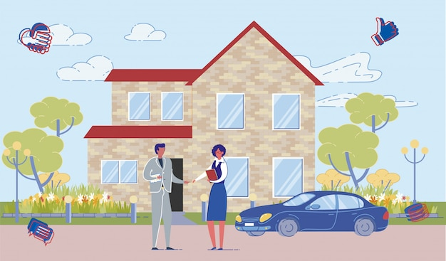 Real estate agent and buyer at house facade. Premium Vector