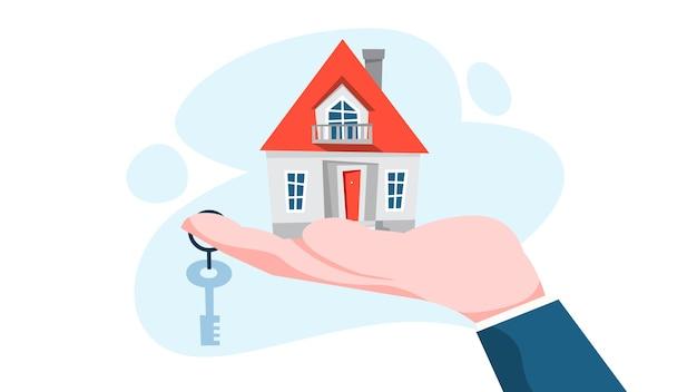 Концепция агента по недвижимости. предложение продажи дома. Premium векторы
