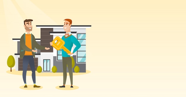 Real estate agent giving key to a new house owner. Premium Vector