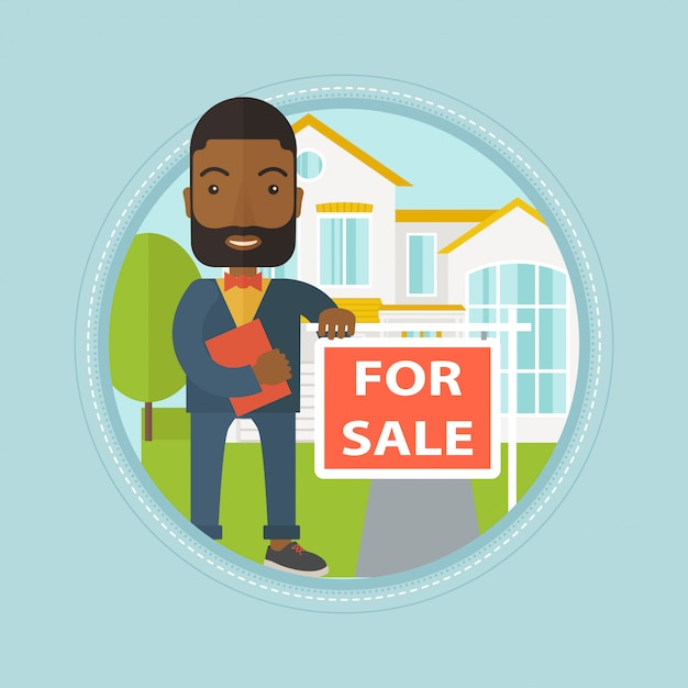 Real estate agent offering house Premium Vector