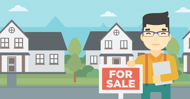 Real estate agent offering house. Premium Vector