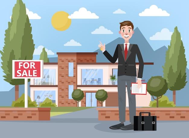 Агент по недвижимости или брокерское понятие. продажа большого дома или квартиры. улыбающийся человек, стоящий и держащий ключ и буфер обмена с контрактом на нем. иллюстрация Premium векторы