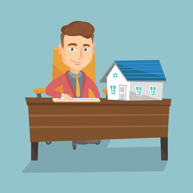 Real estate agent signing contract. Premium Vector