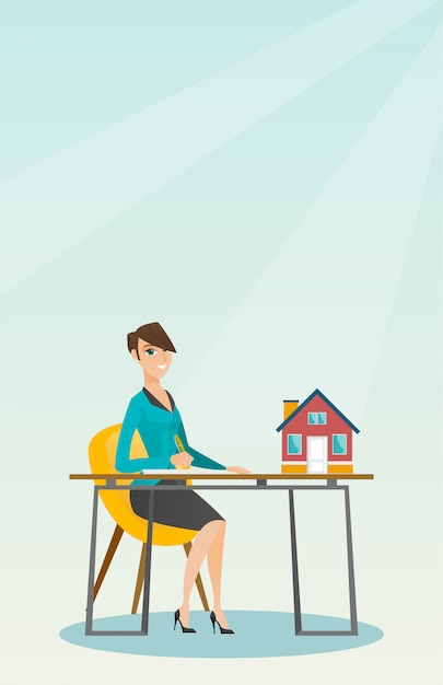Real estate agent signing home purchase contract. Premium Vector