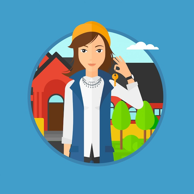 Real estate agent with key. Premium Vector