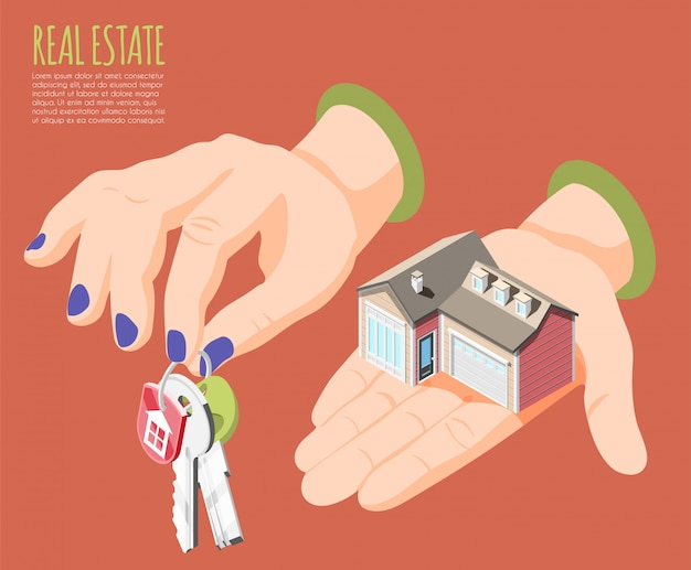 Real estate augmented reality isometric background big women s hands with keys  illustration Free Vector