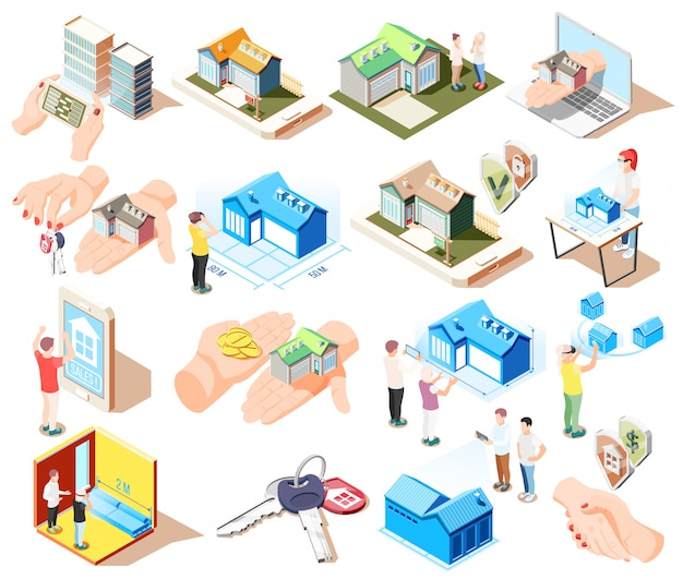 Real estate augmented reality isometric icon set with different elements and attributes of buildings  illustration Free Vector