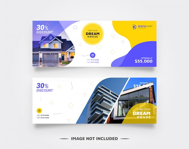 Real Estate Banner Template For Web Premium Vector