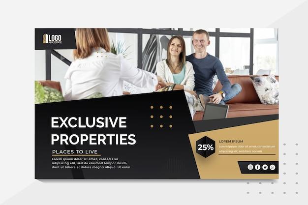 Modello di banner immobiliare Vettore gratuito