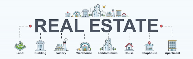 Real estate banner web icon for property and investment. land and building. Premium Vector