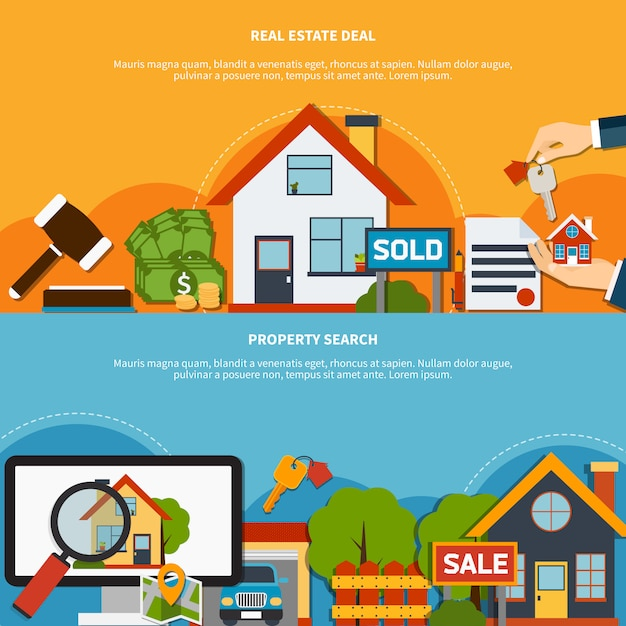 Real estate banners Free Vector