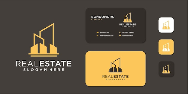 Real estate building architecture monogram logo with business card Premium Vector