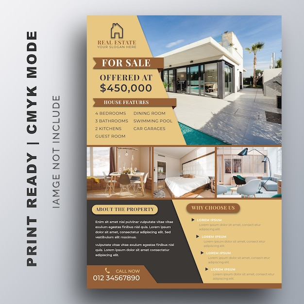 Real estate business flyer template. Premium Vector