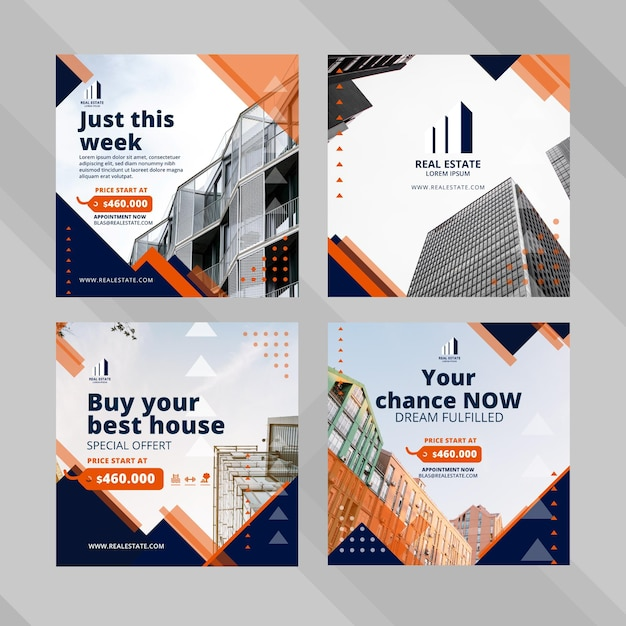 Real estate business social media post template Free Vector