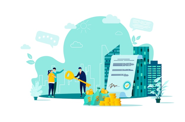 Real estate concept in  style with people characters in situation Premium Vector