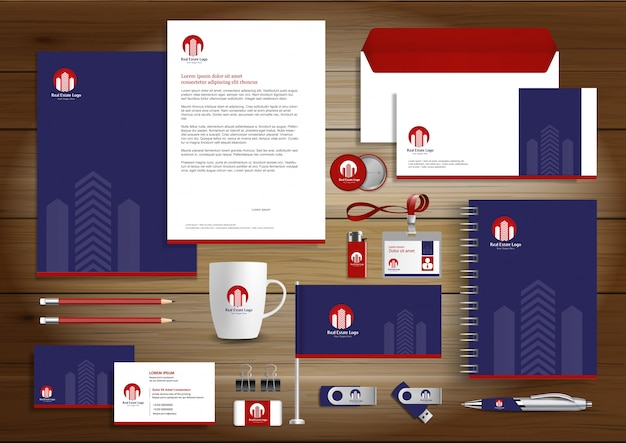 Real estate corporate identity vector stationery Premium Vector