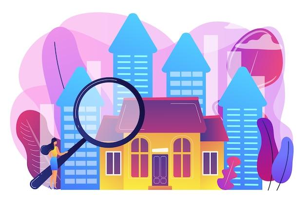판매를위한 재산을 찾고 돋보기와 부동산 고객. 부동산 시장, 부동산 거래, 부동산 시장 개념. 밝고 활기찬 보라색 고립 된 그림 무료 벡터