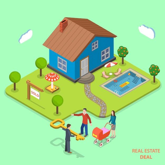 Real estate deal isometric flat vector concept. Premium Vector