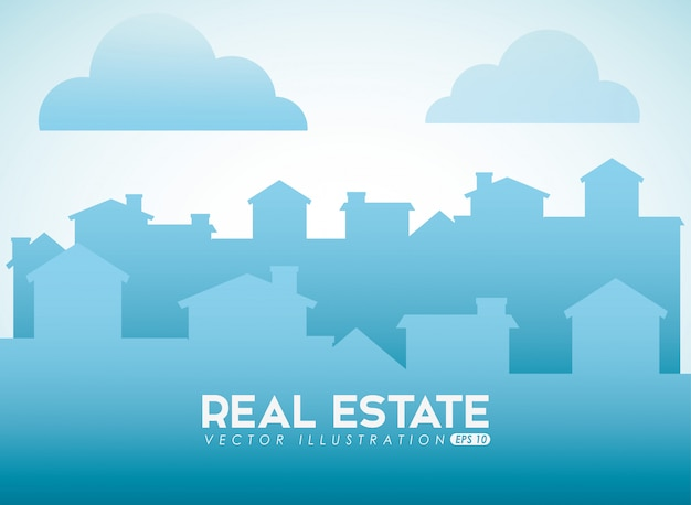 Real estate design with city silhouette Free Vector
