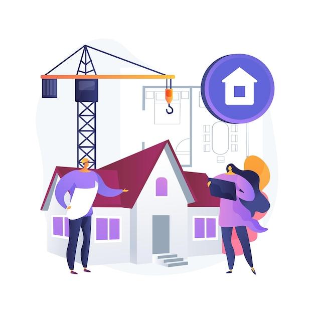 부동산 개발 추상적 인 개념 그림입니다. 부동산 개발, 부동산 거래, 토지 구입, 건설 프로젝트, 회사 관리, 사업 계획 무료 벡터