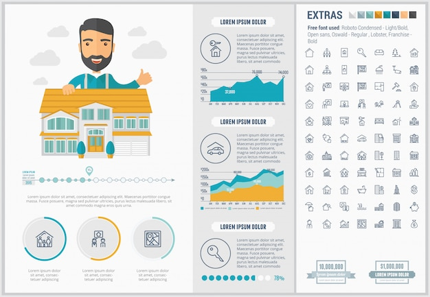 Real estate flat design infographic template and icons set Premium Vector