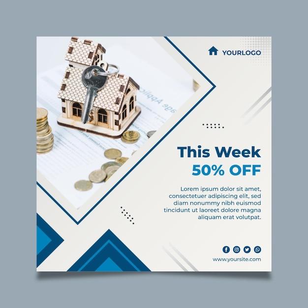 Modello quadrato volantino immobiliare Vettore gratuito