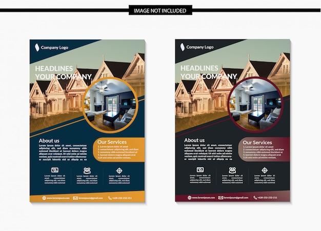 Real estate flyer template design in a4 Premium Vector