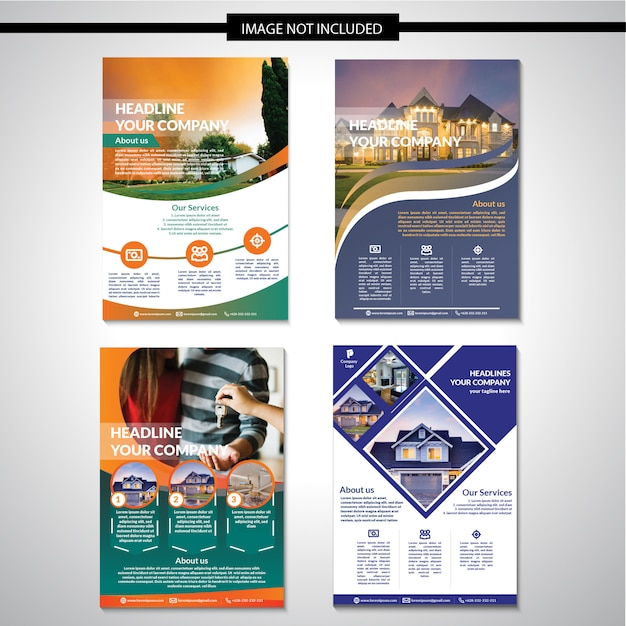 Real estate flyer template design Premium Vector