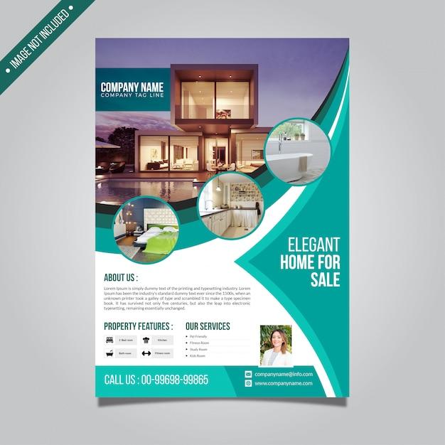 Real estate flyer template Premium Vector