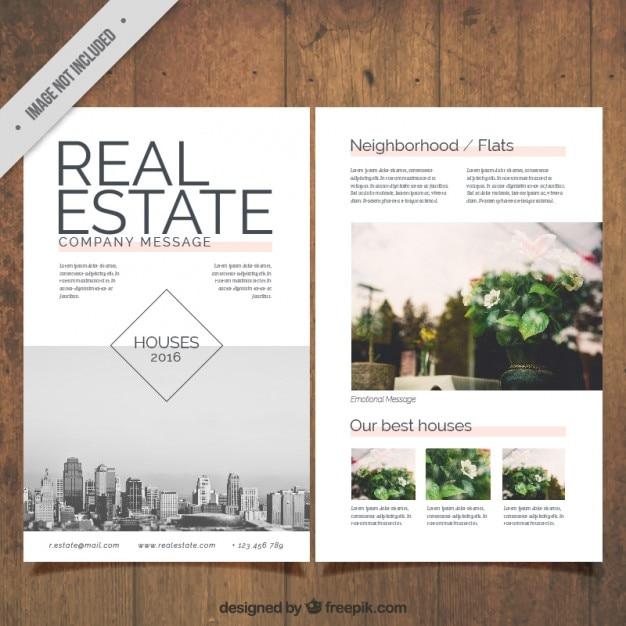 Real estate flyer with pictures Free Vector