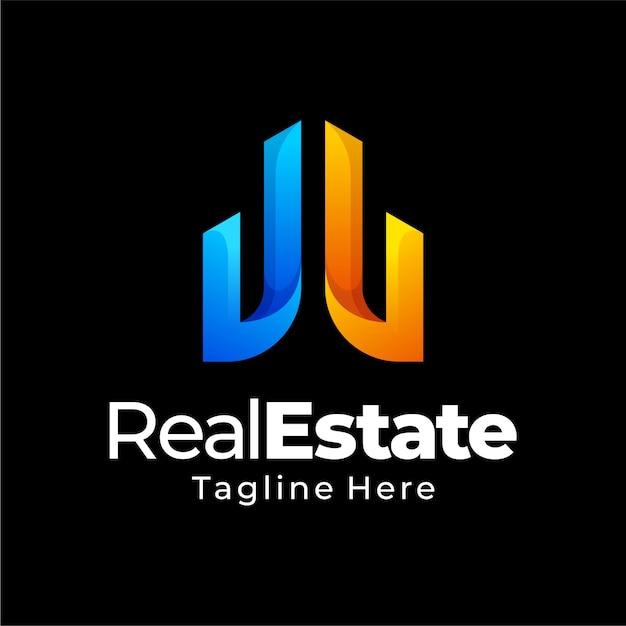 Дизайн логотипа градиента недвижимости Premium векторы