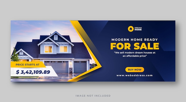 Real estate home sale social media cover web banner Premium Vector