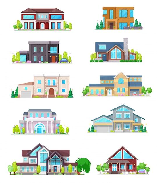 부동산 집 건물 및 별장 홈 아이콘 프리미엄 벡터