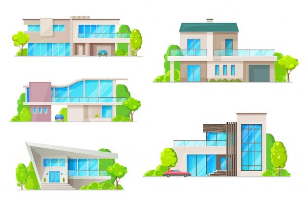 주택 부동산 집 건물 아이콘입니다. 유리창, 정문, 굴뚝이있는 지붕, 차고 및 자동차 기호가있는 주거용 빌라, 코티지, 방갈로 및 맨션 외관 프리미엄 벡터