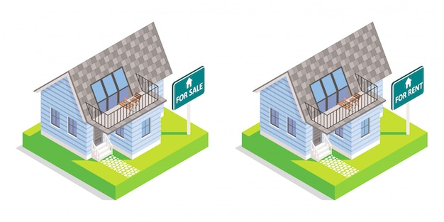Real estate house vector isometric isolated Premium Vector