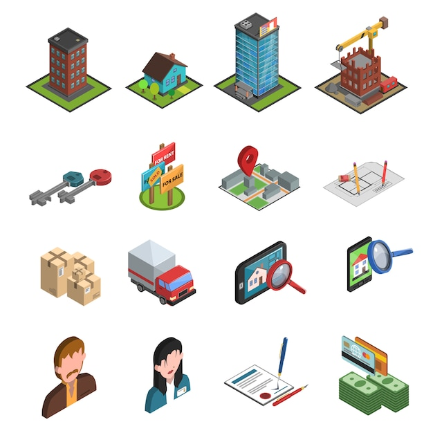Real estate icon isometric Free Vector