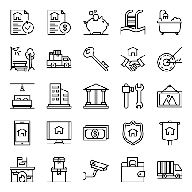 Real estate icons pack Premium Vector