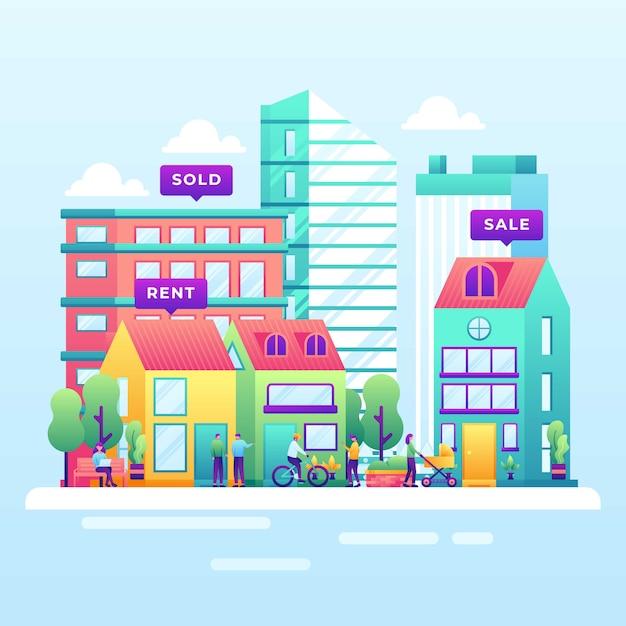 Real estate illustration Premium Vector