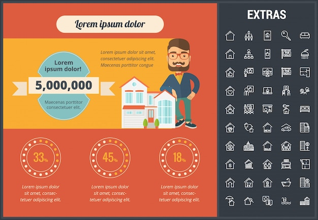 Real estate infographic template, elements, icons. Premium Vector