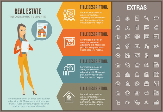 Real estate infographic template, elements, icons Premium Vector