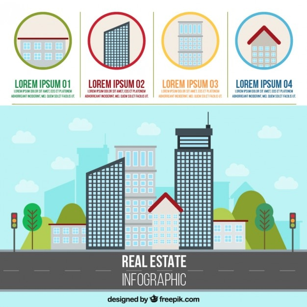 Real estate infographic with skyscrapers Free Vector